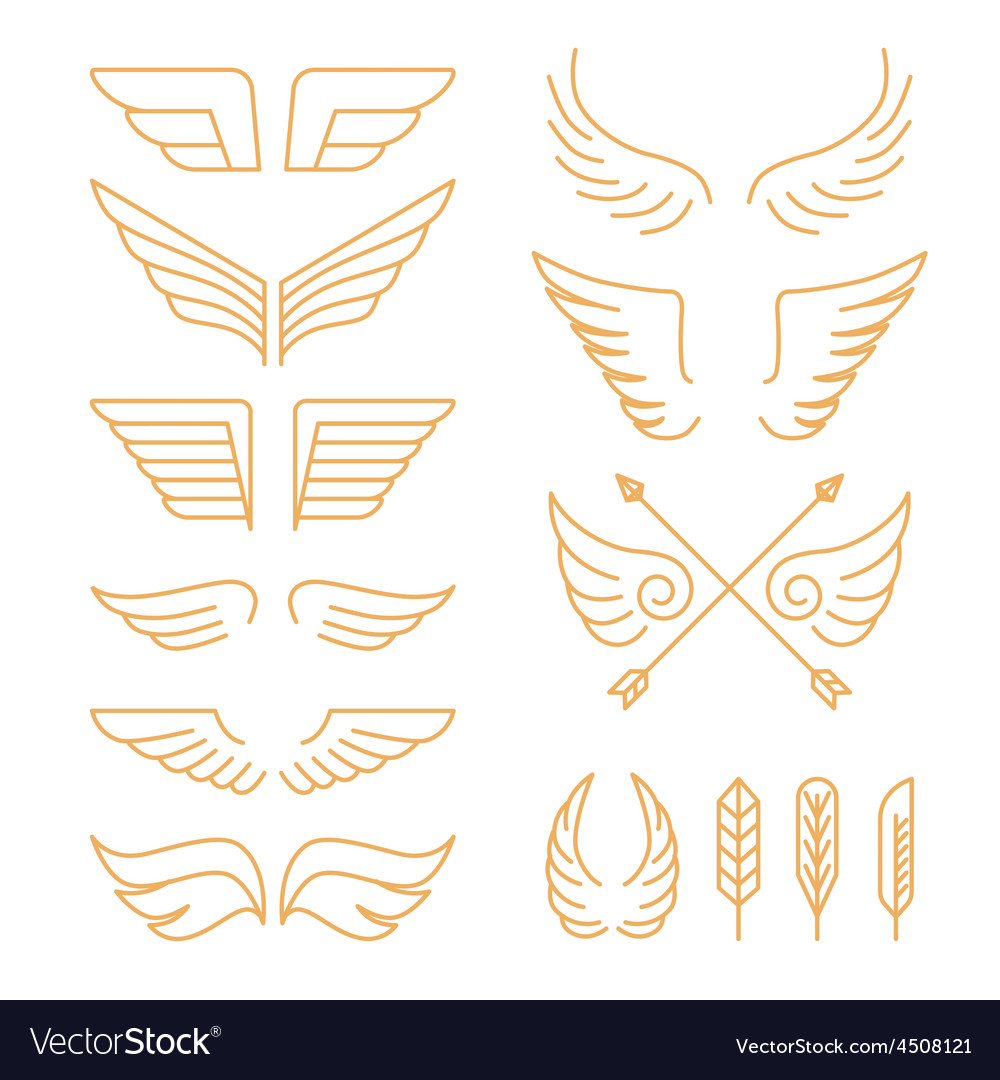 Set of linear icons - wings vector | Price: 1 Credit (USD $1)