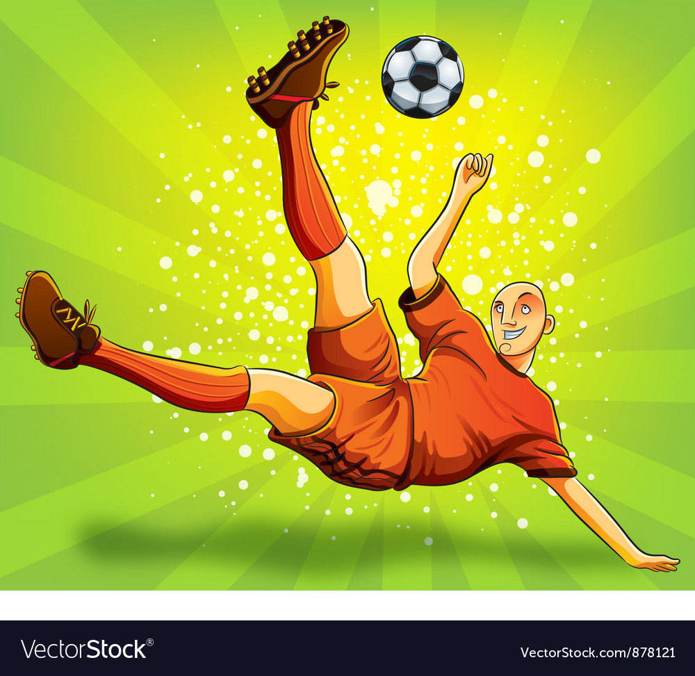 Soccer player flying shooting a ball vector | Price: 5 Credit (USD $5)