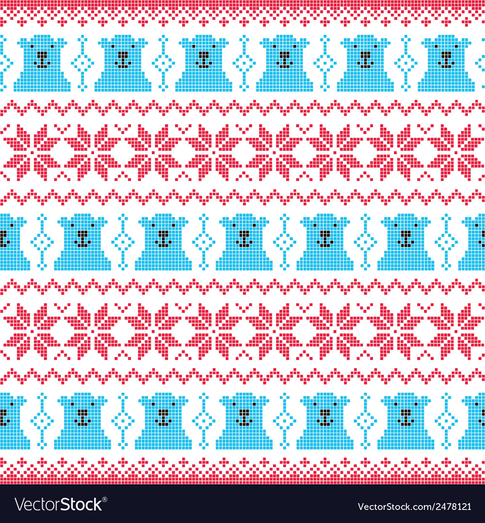 Winter christmas red and bear seamless pixelated vector | Price: 1 Credit (USD $1)