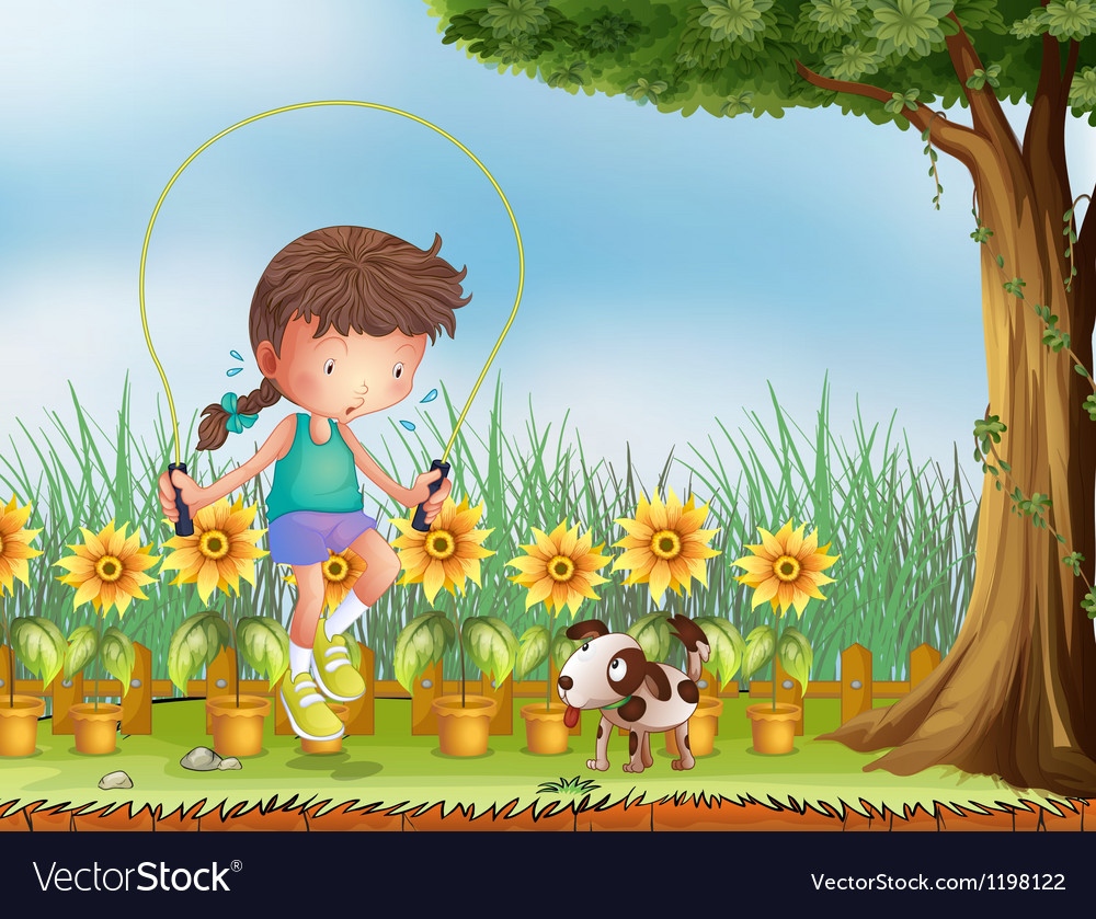 A girl playing jumping rope with a dog vector   Price: 1 Credit (USD $1)