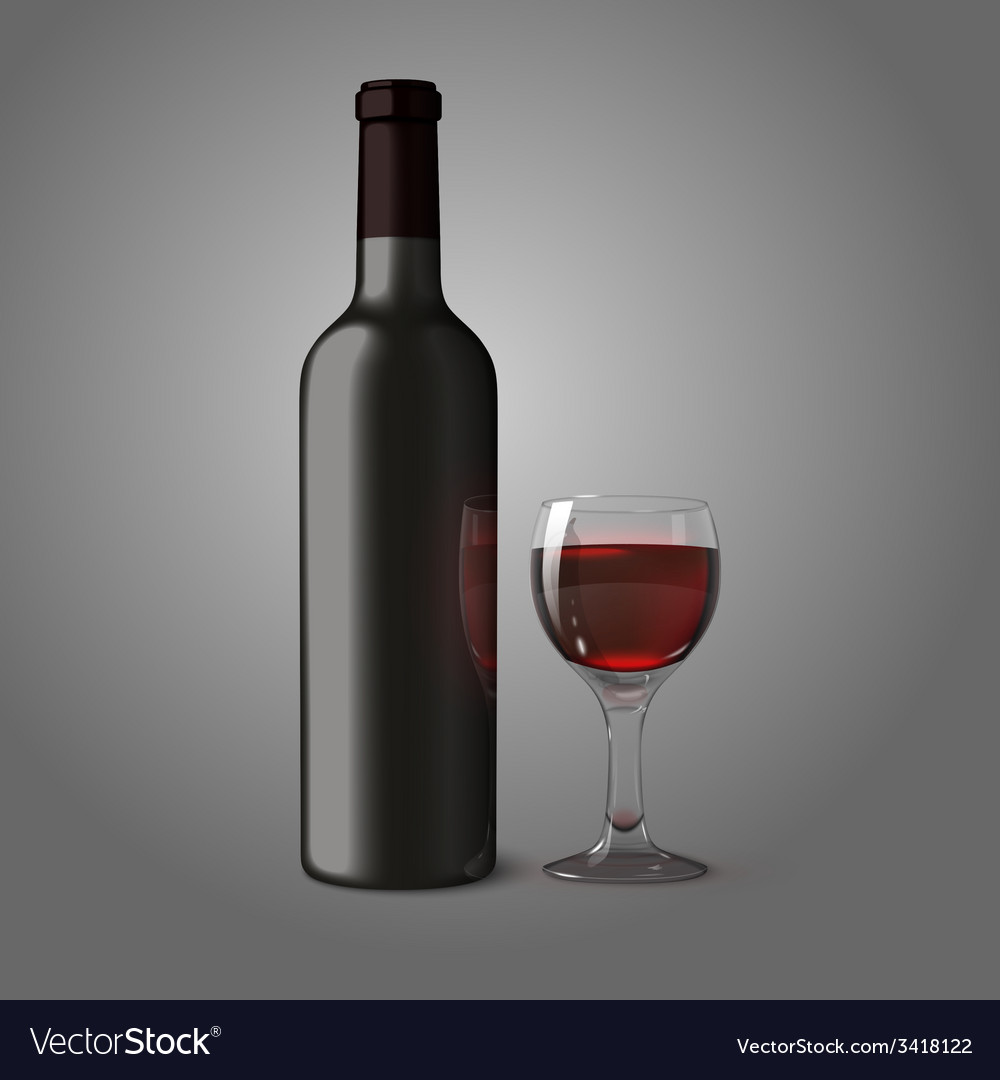 Blank black realistic bottle for red wine with vector | Price: 1 Credit (USD $1)