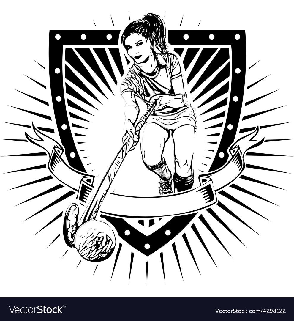 Field hockey shield vector | Price: 3 Credit (USD $3)