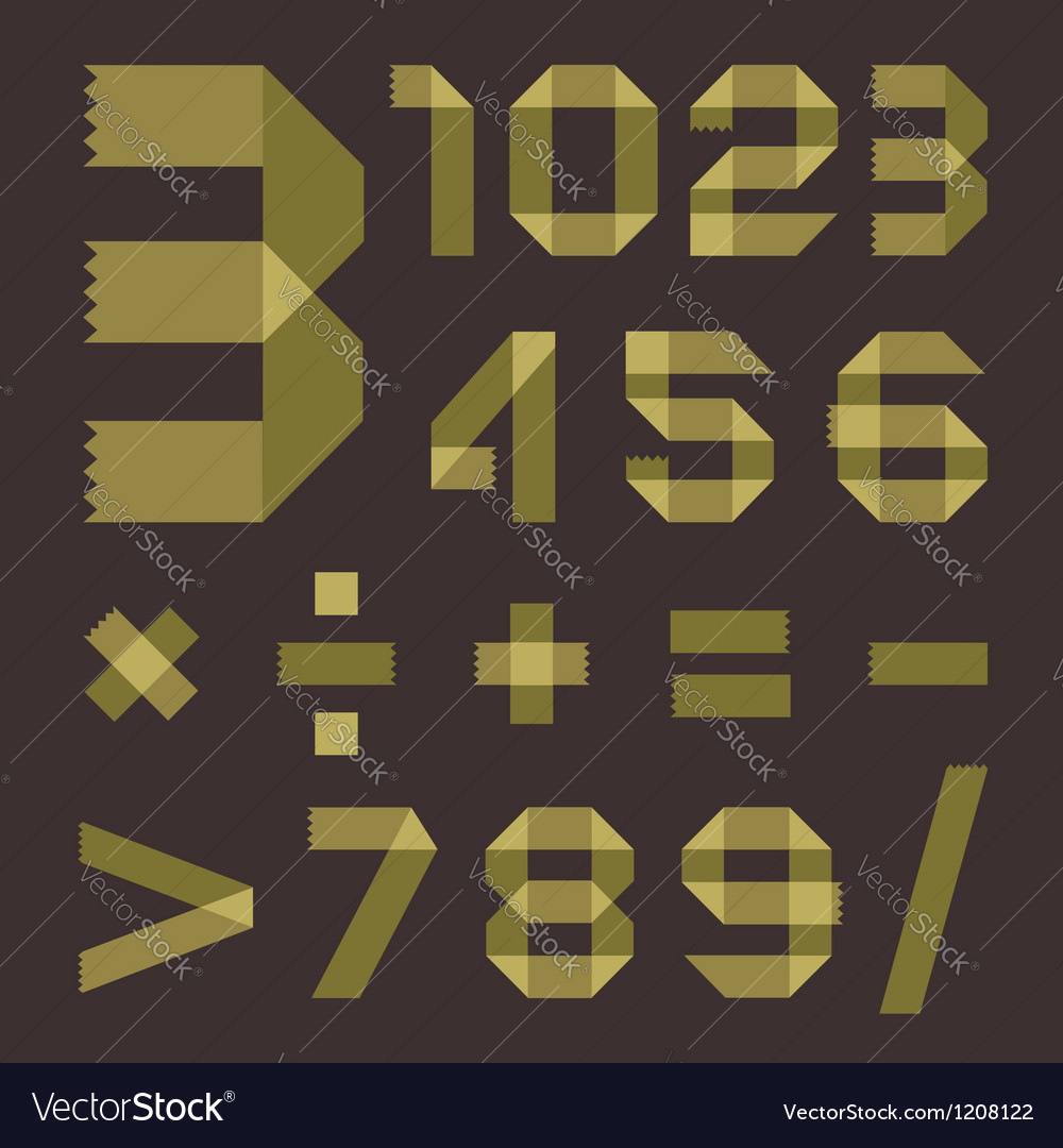 Font from greenish scotch tape - arabic numerals vector   Price: 1 Credit (USD $1)