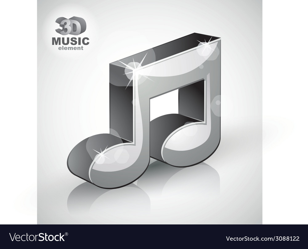 Funky metallic musical note 3d modern style icon vector | Price: 1 Credit (USD $1)