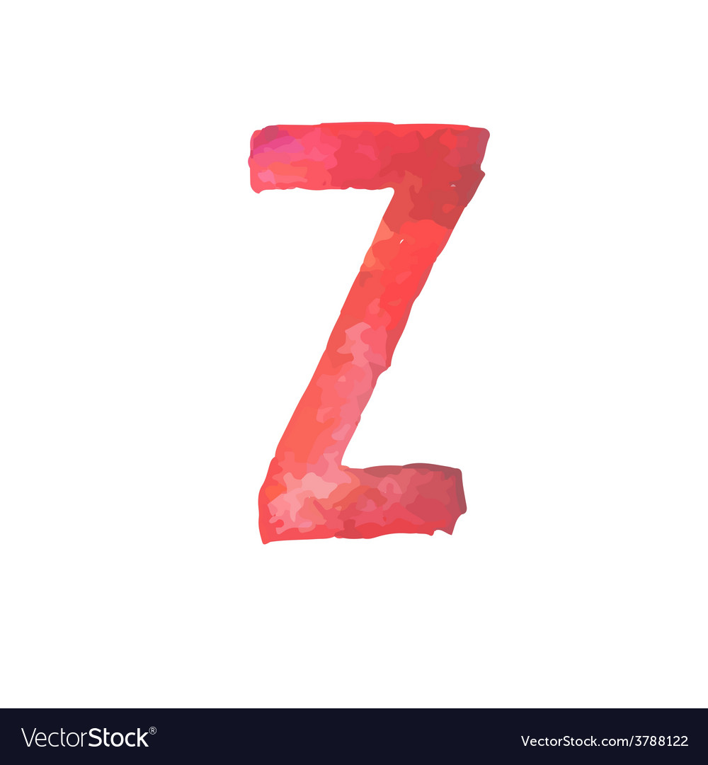 Letter z colorful watercolor aquarelle font type vector | Price: 1 Credit (USD $1)