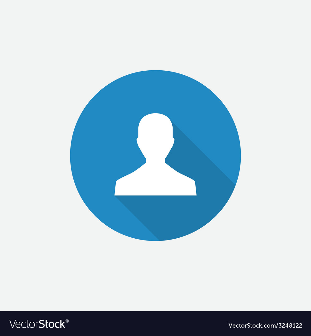 Male profile flat blue simple icon with long vector | Price: 1 Credit (USD $1)