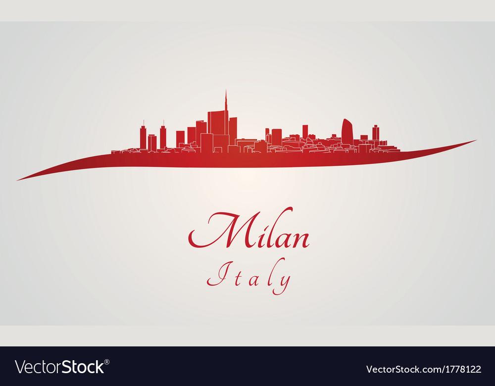 Milan skyline in red vector | Price: 1 Credit (USD $1)
