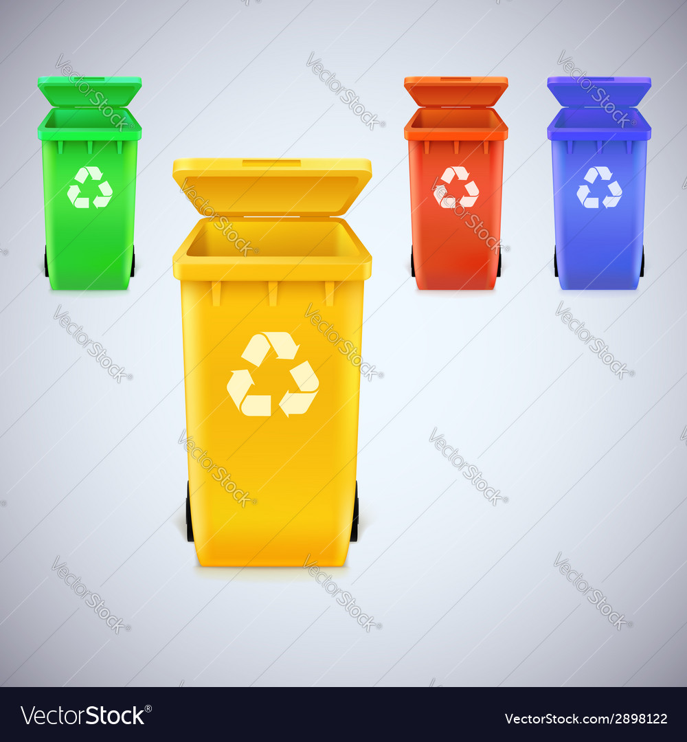 Recycle bins with recycle sign vector | Price: 1 Credit (USD $1)