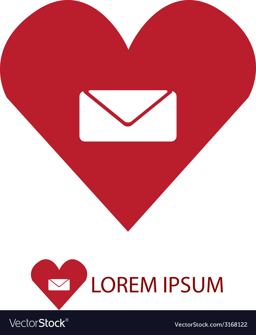 Red love mail sign vector | Price: 1 Credit (USD $1)