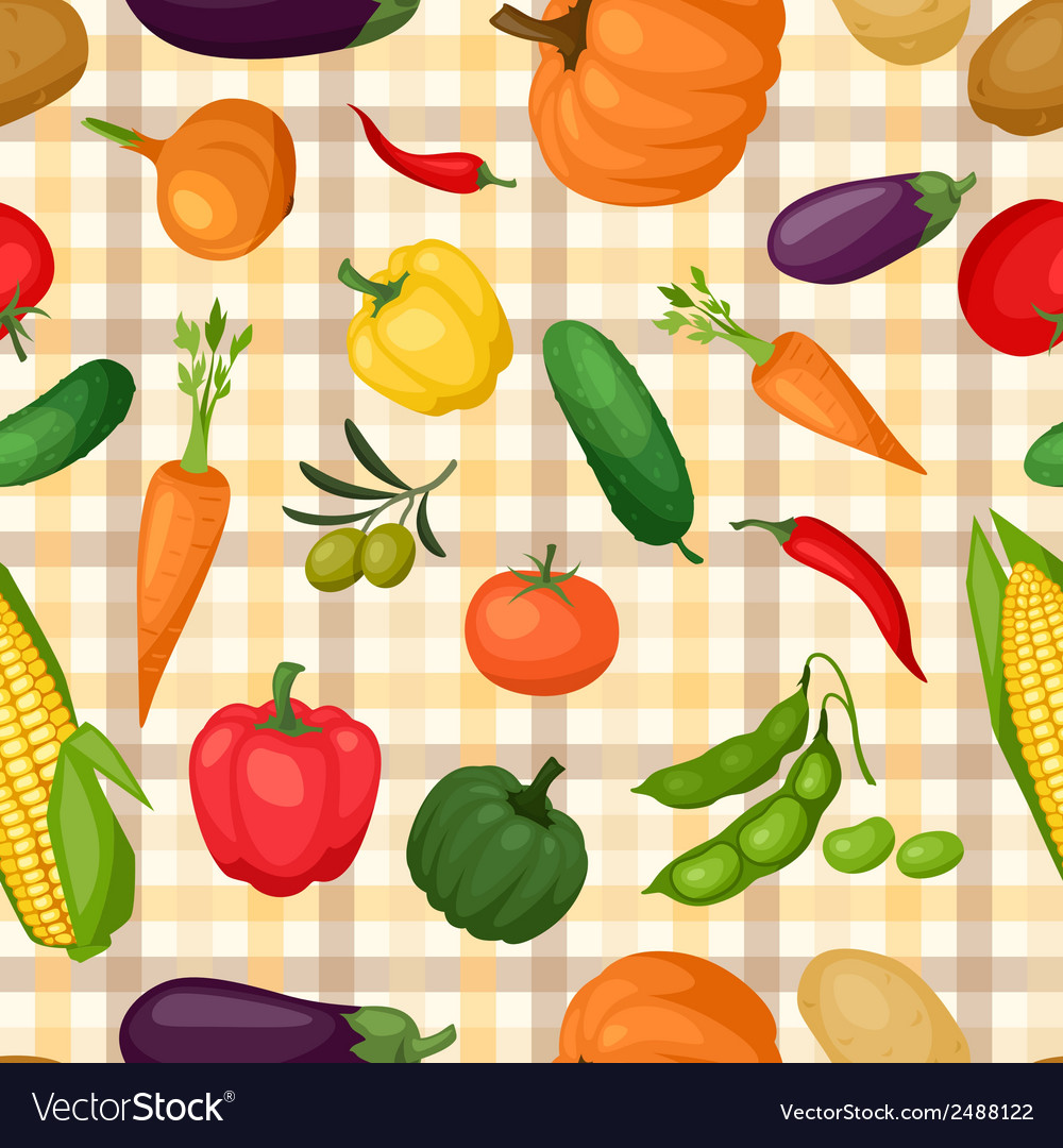 Seamless pattern with fresh ripe stylized vector | Price: 1 Credit (USD $1)