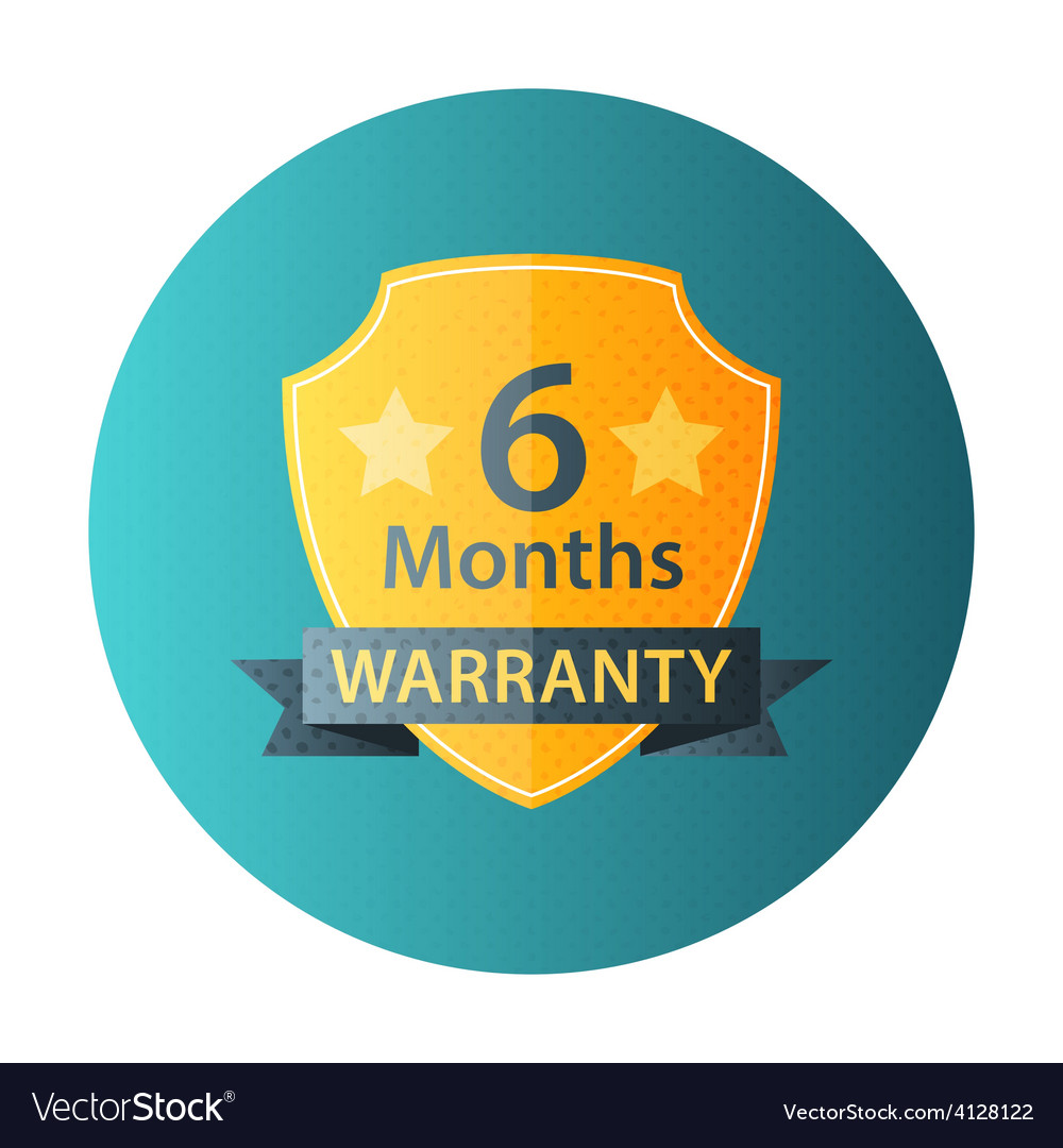 Six months warranty circle icon vector