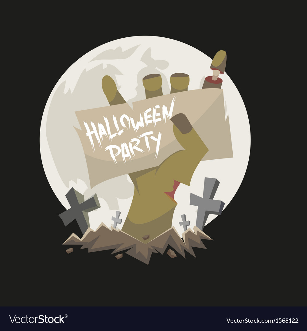 Zombie hand holding a banner vector   Price: 1 Credit (USD $1)