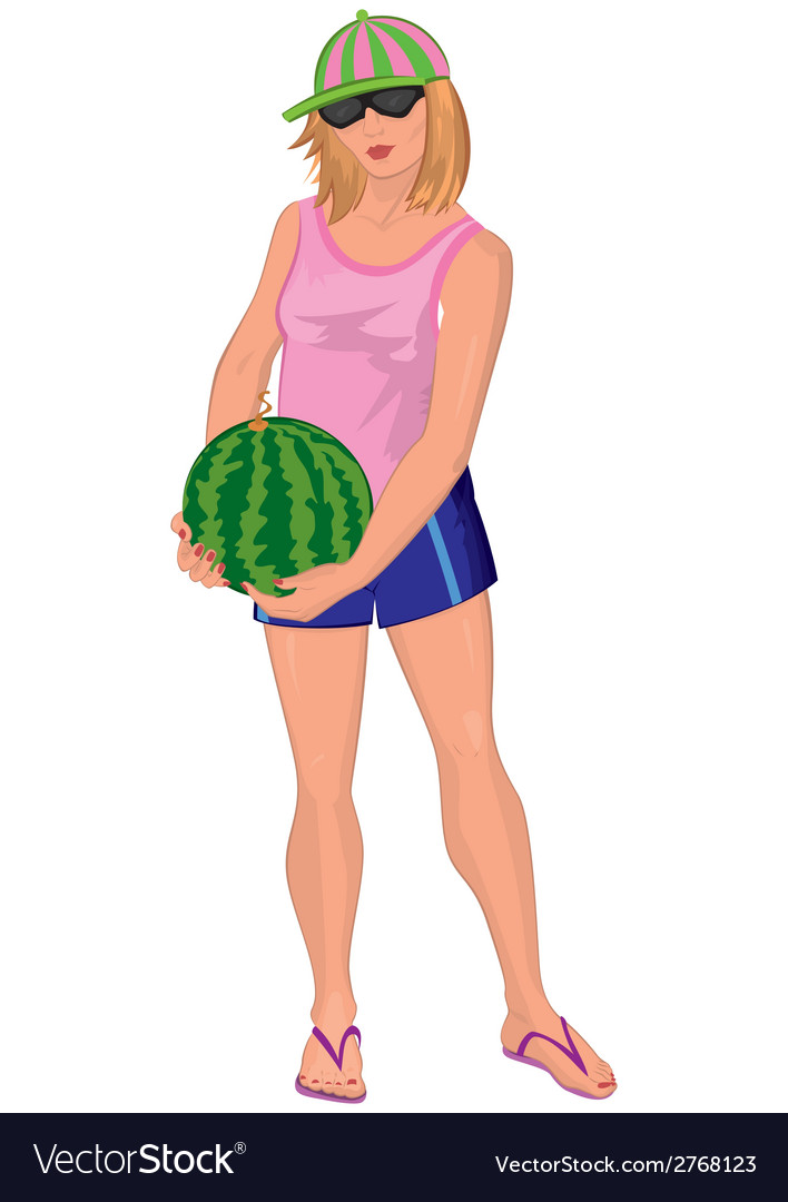 Cartoon young woman in sunglasses with watermelon vector | Price: 1 Credit (USD $1)