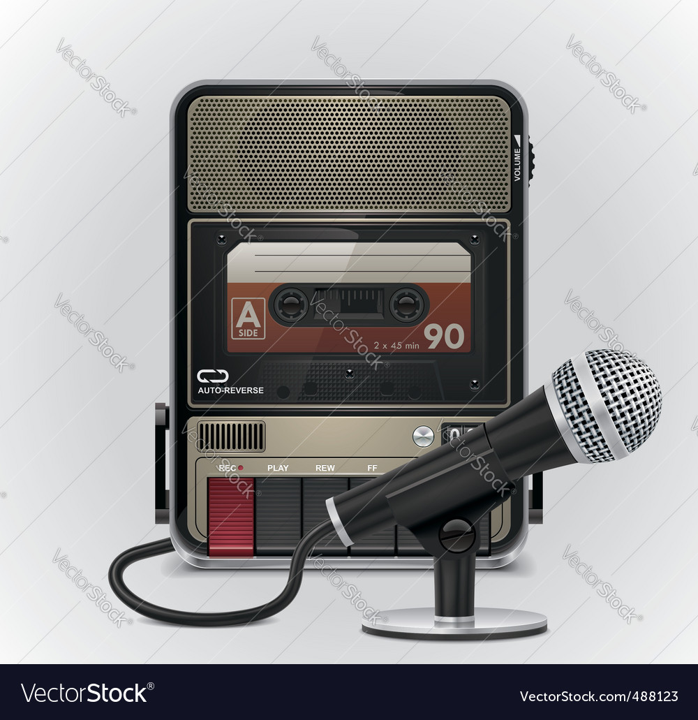 Cassette recorder and microphone vector | Price: 5 Credit (USD $5)
