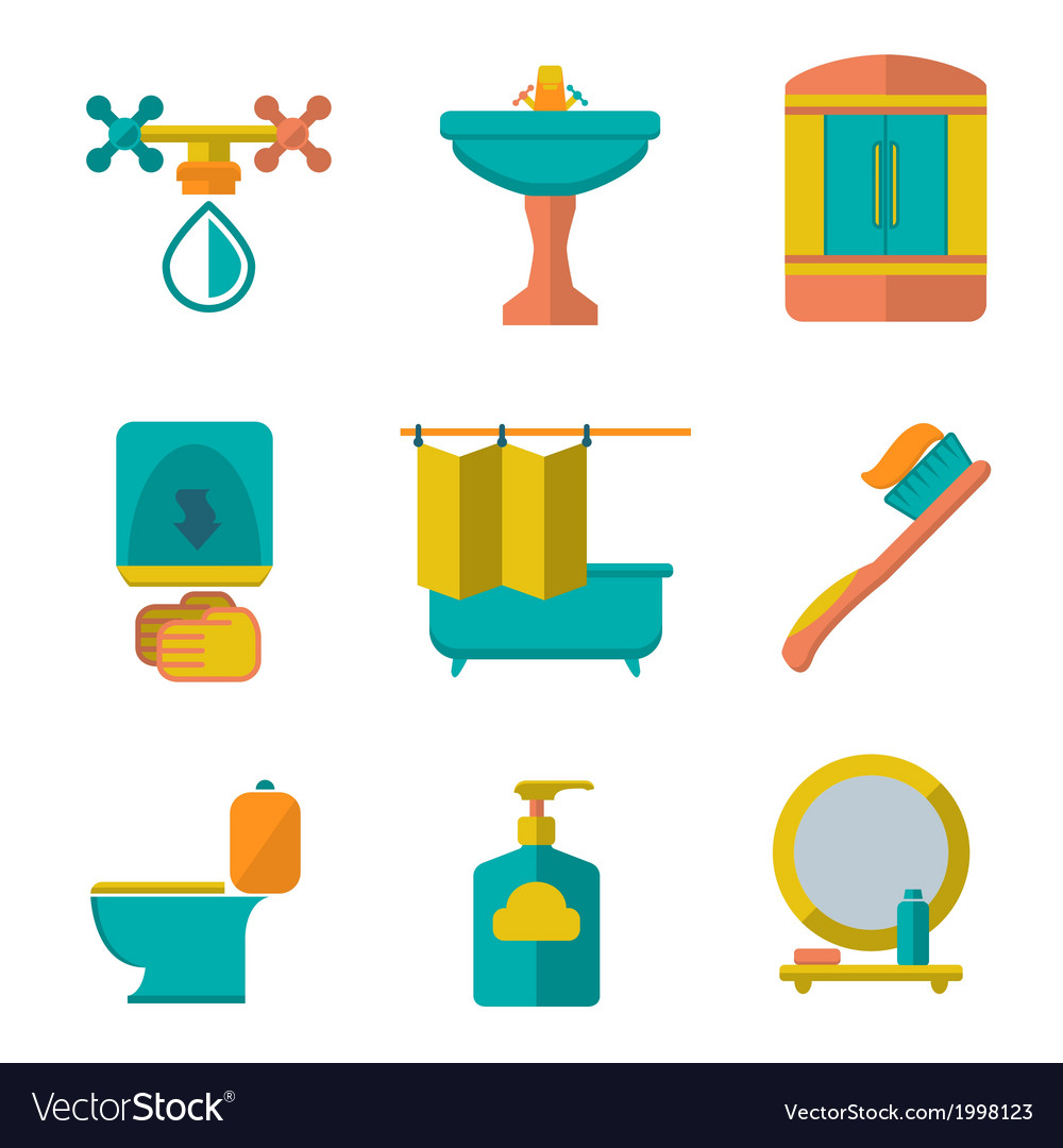 Flat icons of bathroom vector   Price: 1 Credit (USD $1)