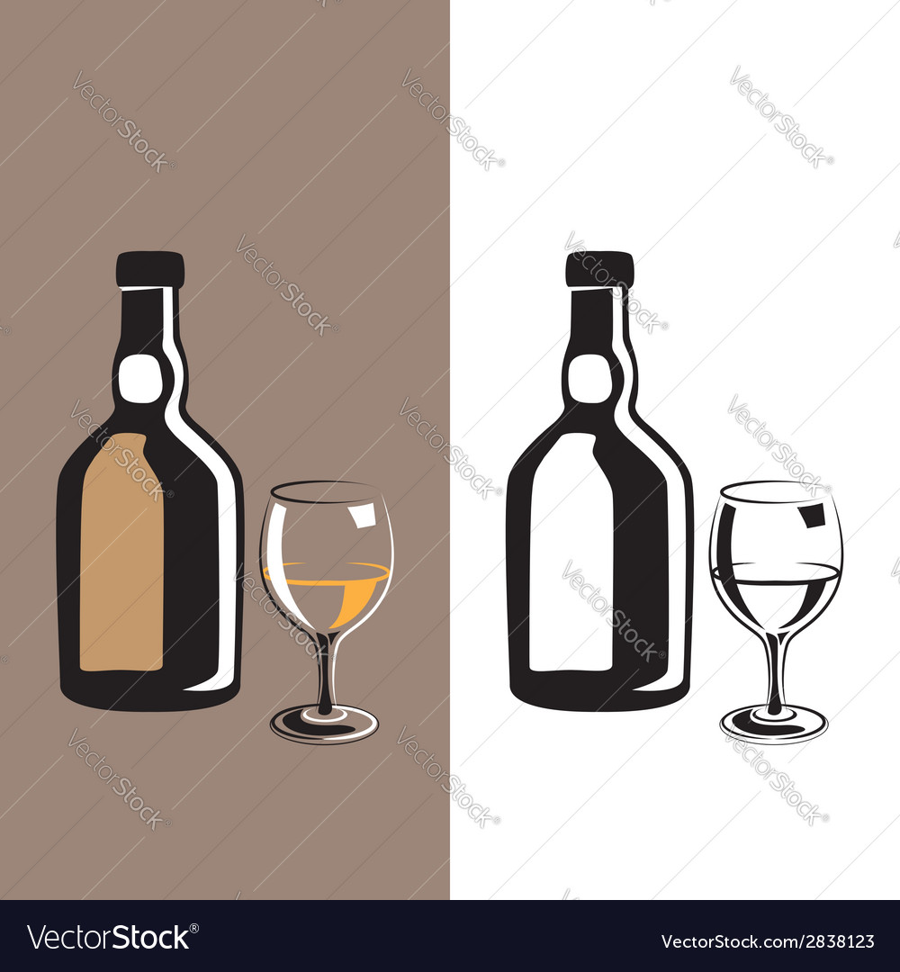 Glass and bottle cognac vector | Price: 1 Credit (USD $1)