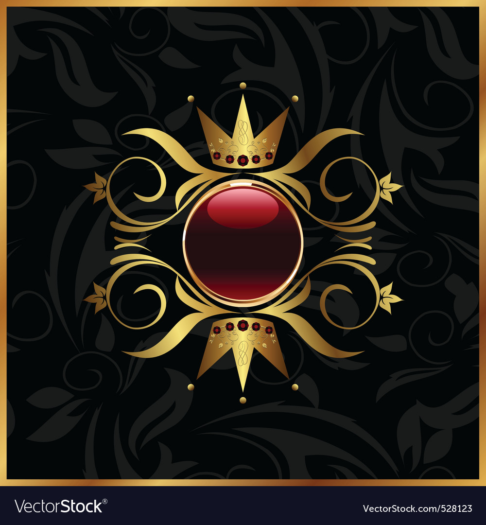Golden floral frame with crown vector   Price: 1 Credit (USD $1)