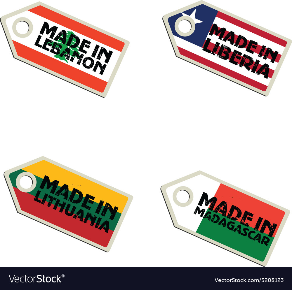 Label made in lebanon liberia lithuania madagascar vector | Price: 1 Credit (USD $1)