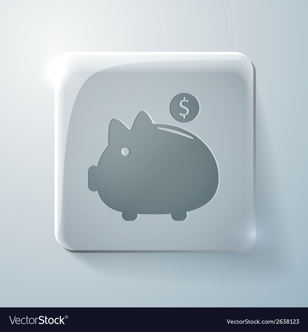 Piggy bank glass square icon vector | Price: 1 Credit (USD $1)