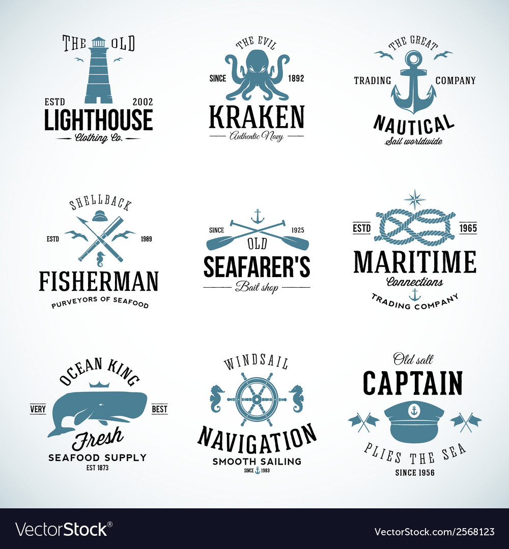 Set of vintage nautical labels and signs with vector | Price: 1 Credit (USD $1)