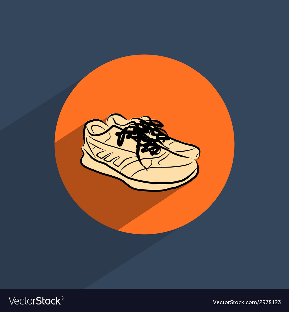 Sneakers shoes flat doodle icon vector | Price: 1 Credit (USD $1)