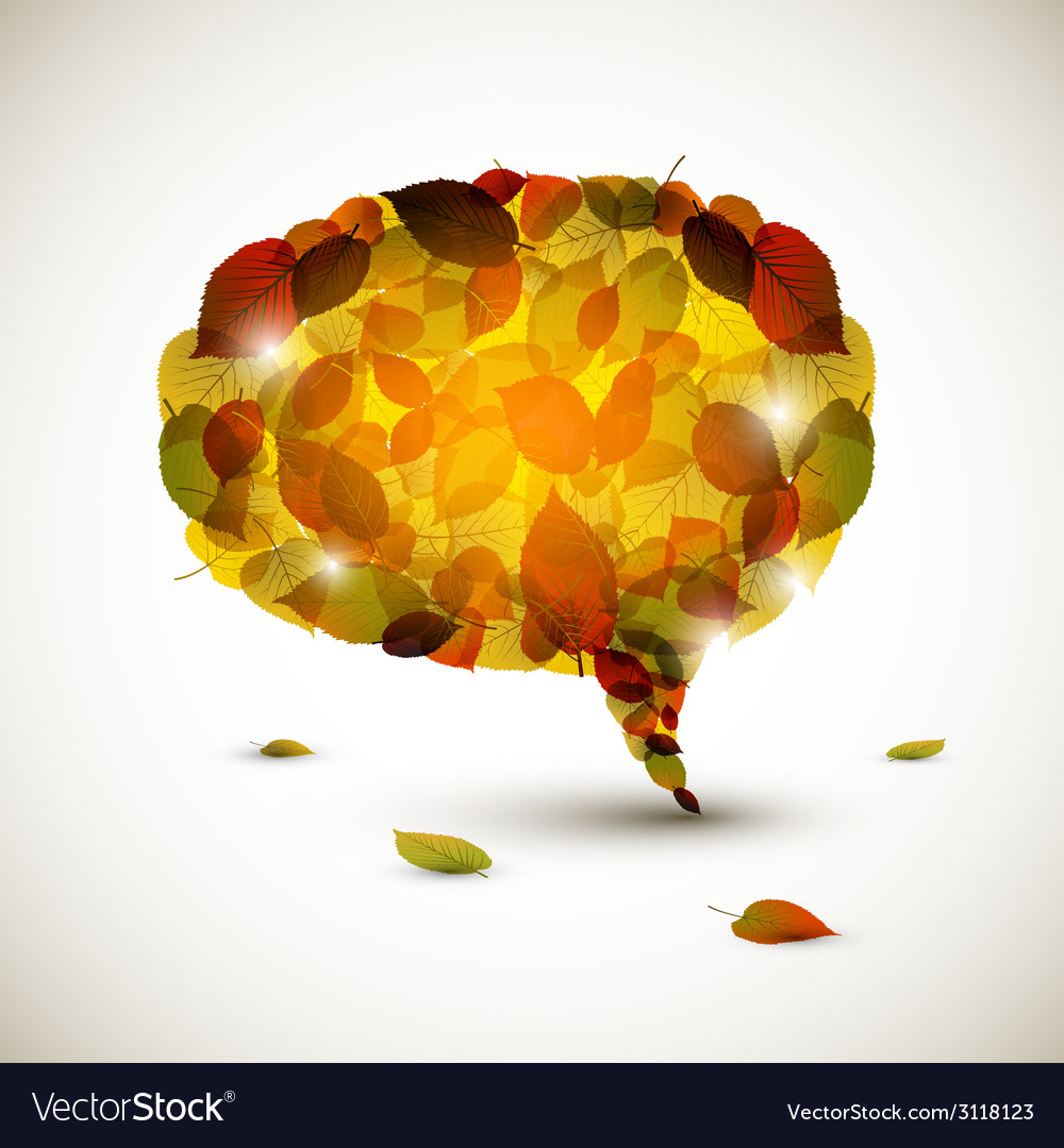 Speech bubble made of colorful autumn leafs vector | Price: 1 Credit (USD $1)