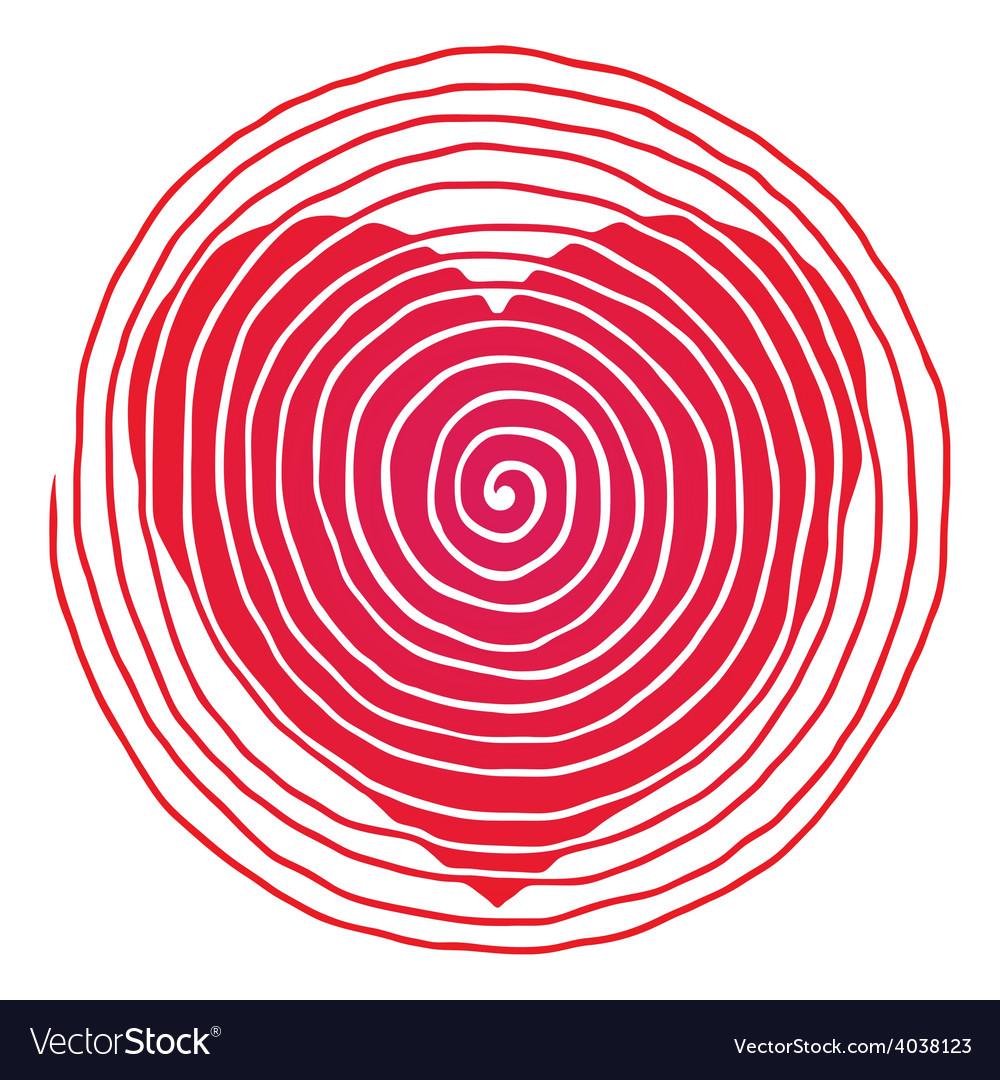 Spiral red heart original vector | Price: 1 Credit (USD $1)