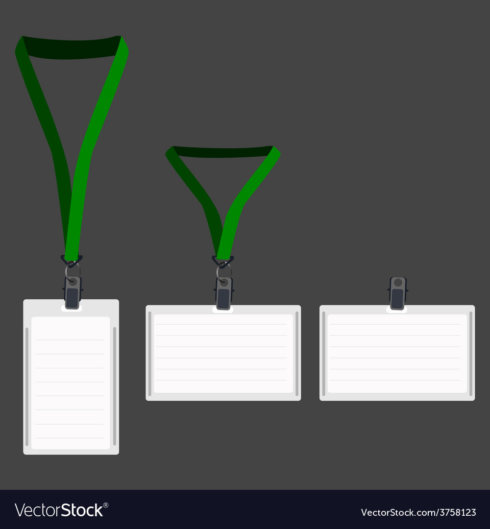 Three white lanyard with green holder vector | Price: 1 Credit (USD $1)