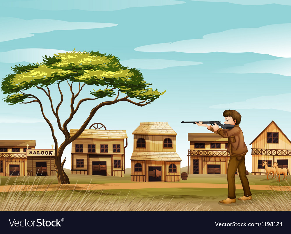 A gunman at the road vector | Price: 1 Credit (USD $1)