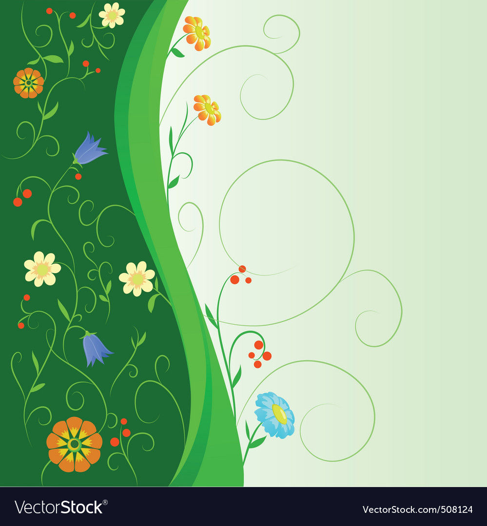 Abstract flowers with floral green stem vector | Price: 1 Credit (USD $1)