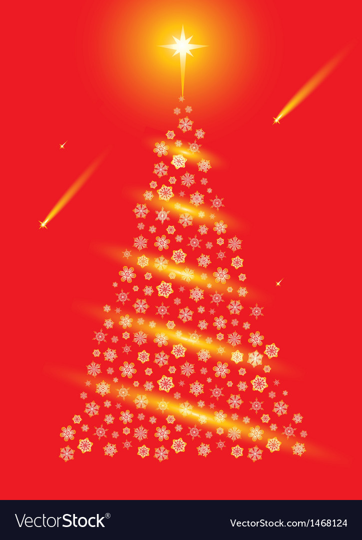 Abstract red christmas tree postcard vector | Price: 1 Credit (USD $1)