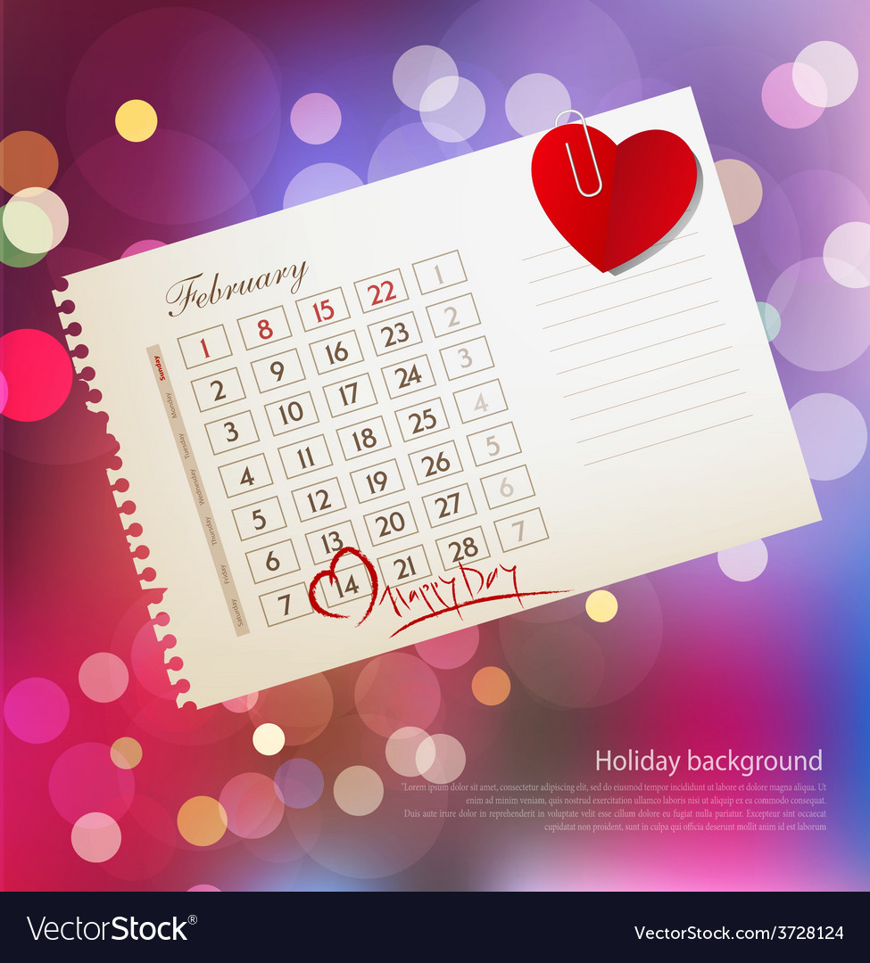 Background for valentines day with the calendar sh vector | Price: 1 Credit (USD $1)
