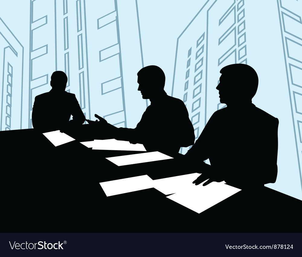 Businessmen meeting silhouette vector | Price: 1 Credit (USD $1)