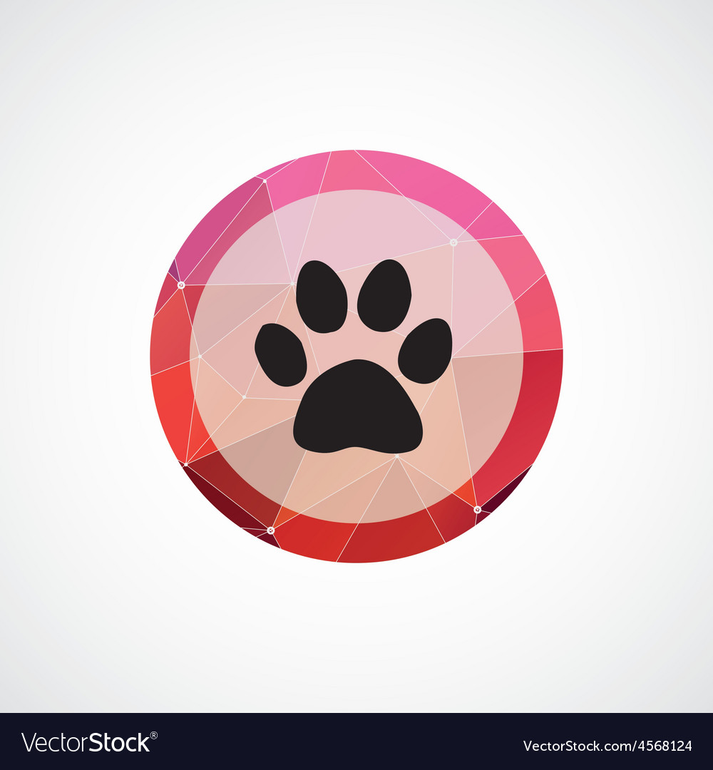 Cat footprint circle pink triangle background icon vector | Price: 1 Credit (USD $1)