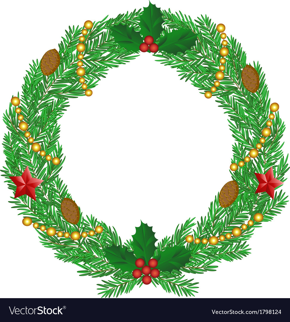 Christmas wreath with cones vector | Price: 1 Credit (USD $1)