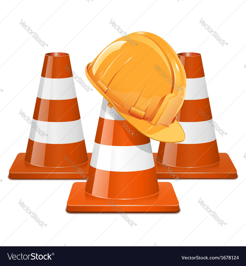 Cones with helmet vector | Price: 1 Credit (USD $1)