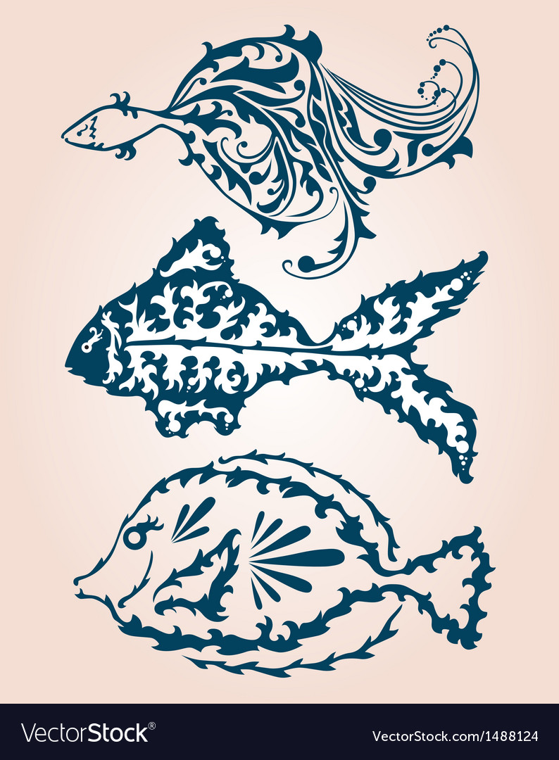 Decorative fishes set vector | Price: 1 Credit (USD $1)