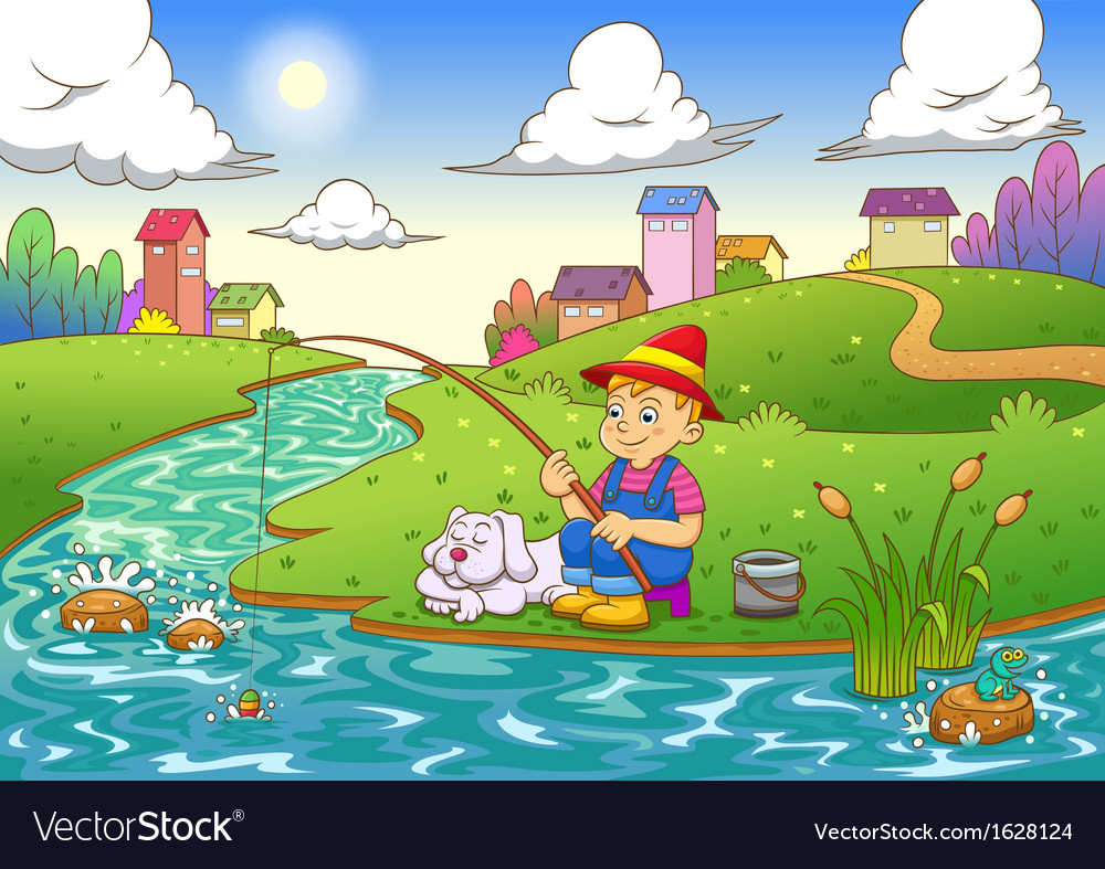 Fishing boy vector | Price: 3 Credit (USD $3)