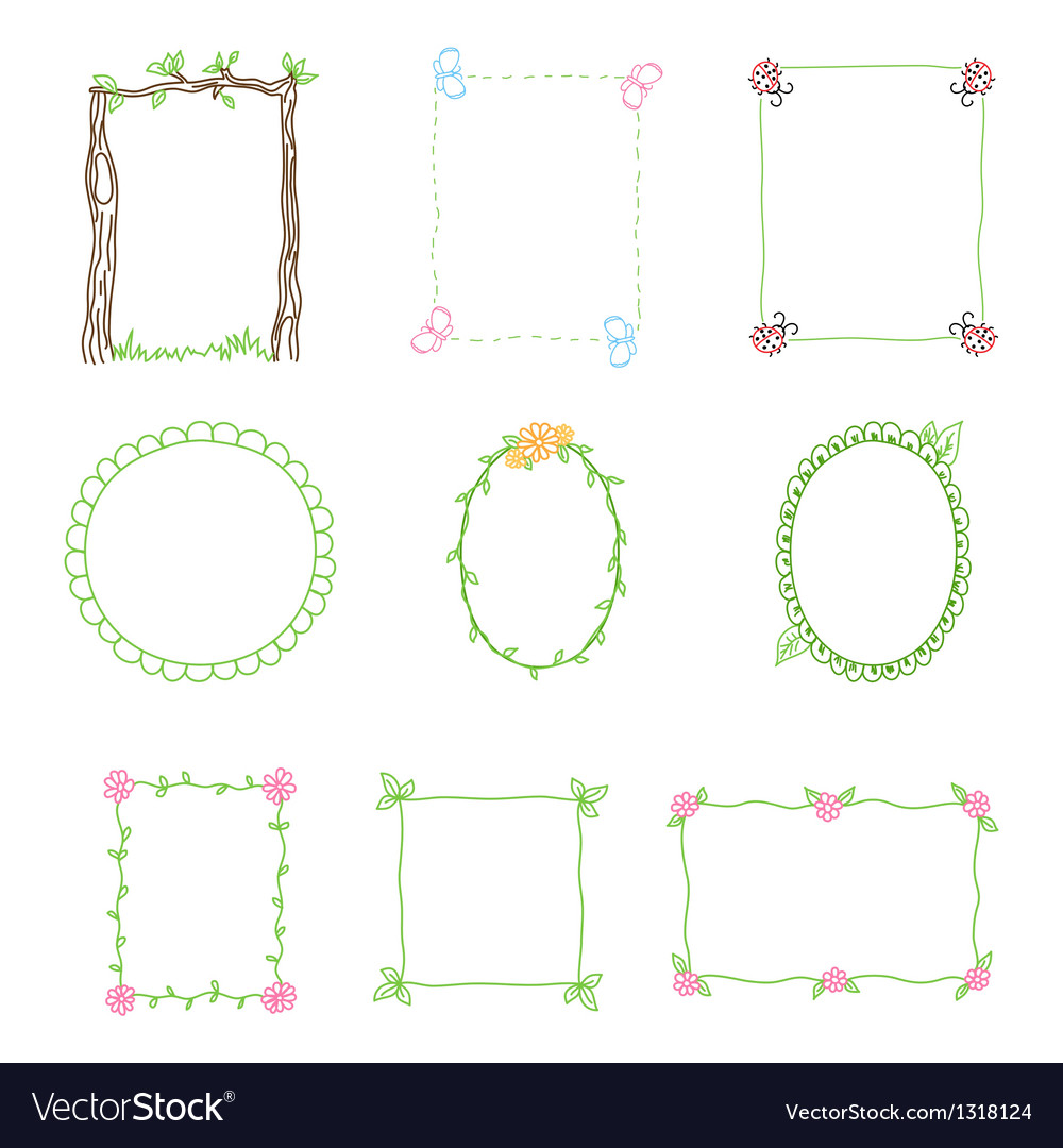 Hand drawn frames set 3 vector | Price: 1 Credit (USD $1)
