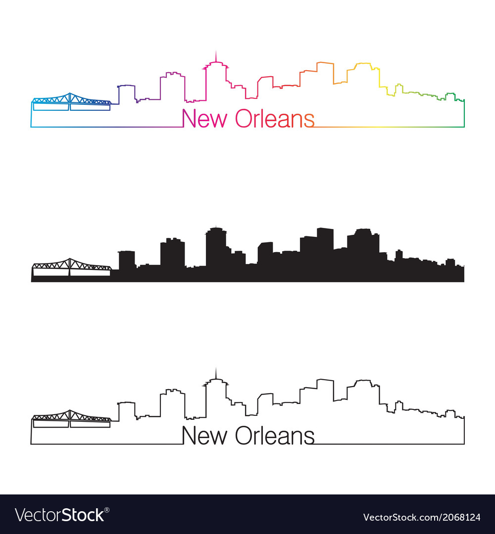 New orleans skyline linear style with rainbow vector | Price: 1 Credit (USD $1)