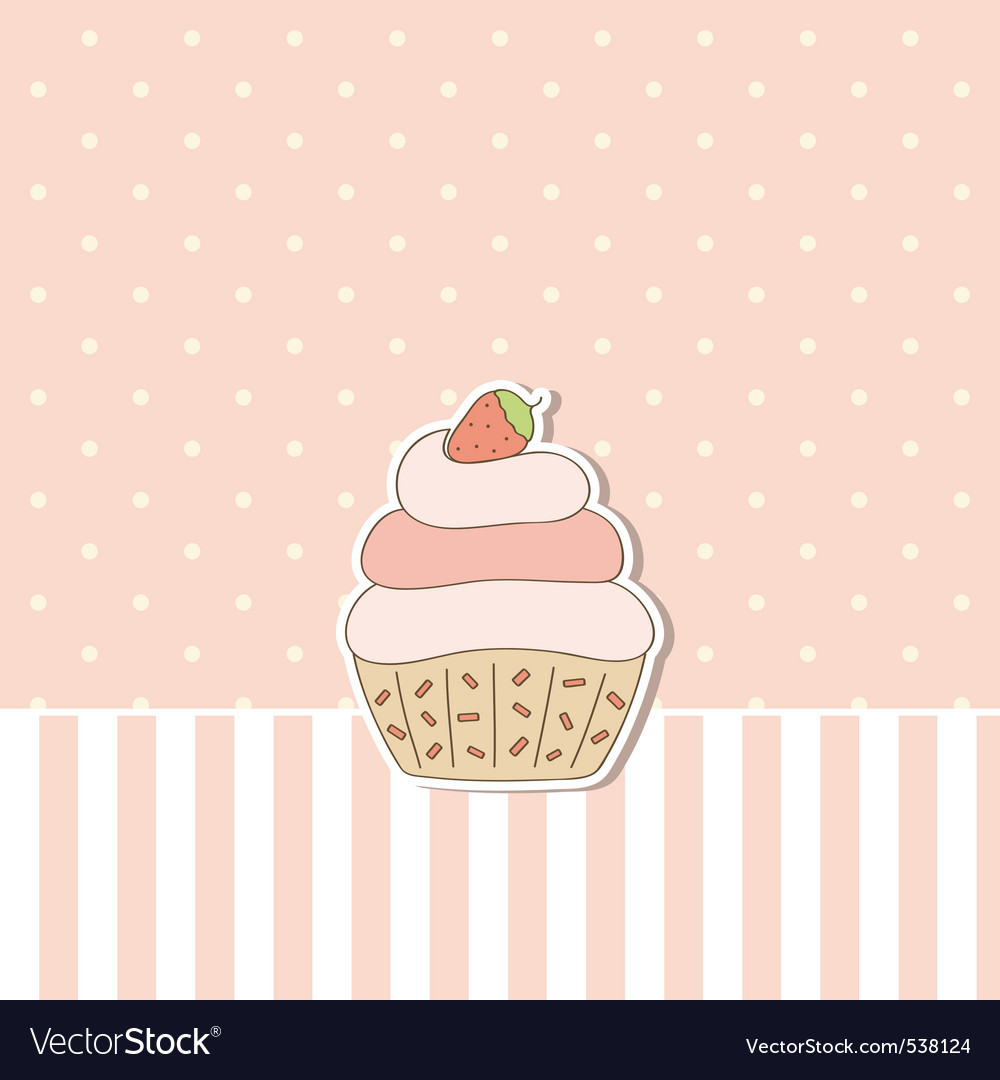Pink background with cupcake vector | Price: 1 Credit (USD $1)