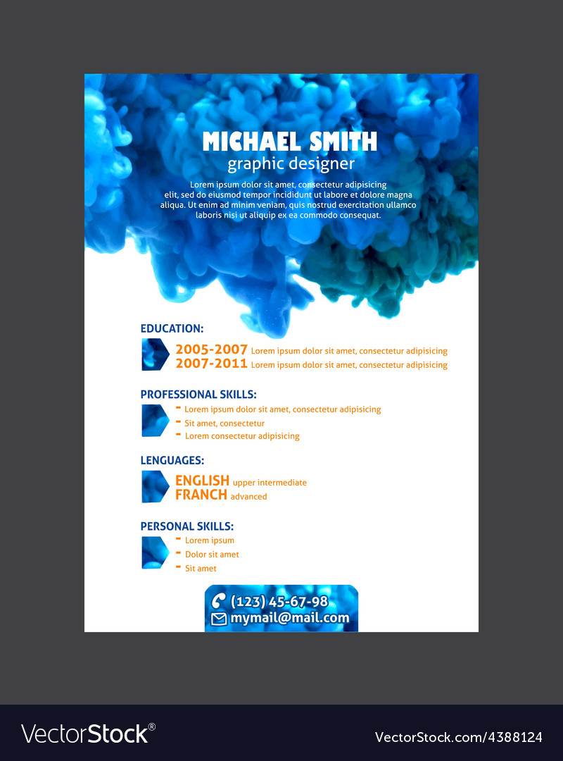 Resume template with watercolor swirling ink vector | Price: 1 Credit (USD $1)