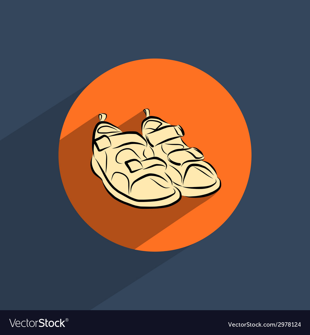 Sandals shoes flat doodle icon vector | Price: 1 Credit (USD $1)