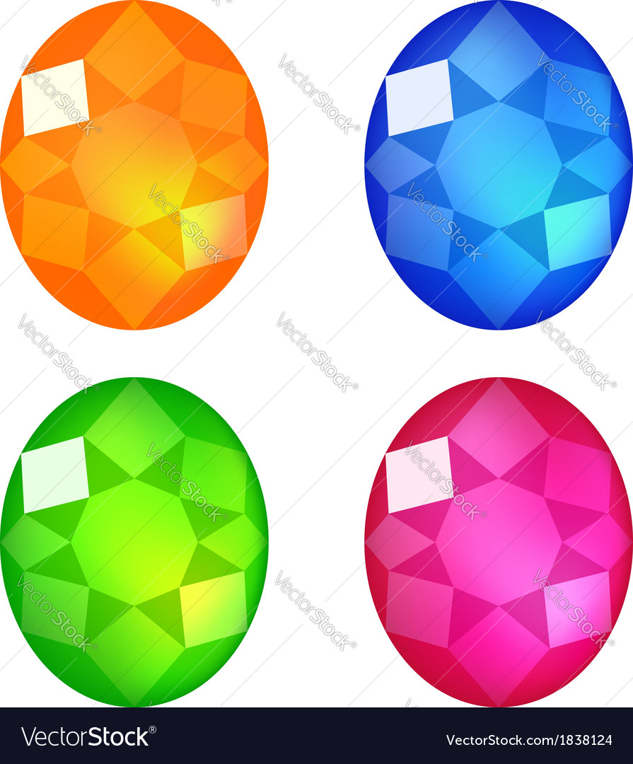 Set of colorful gems isolated on white vector | Price: 1 Credit (USD $1)