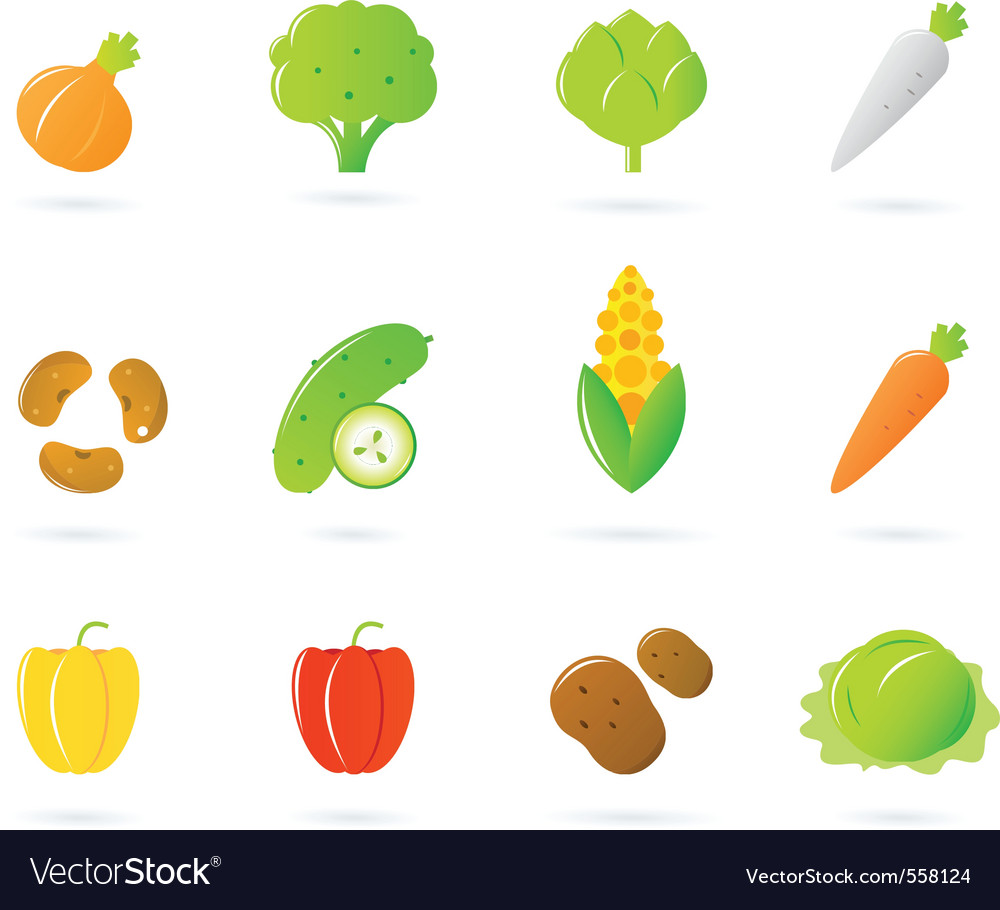 Vegetable food icons vector | Price: 1 Credit (USD $1)