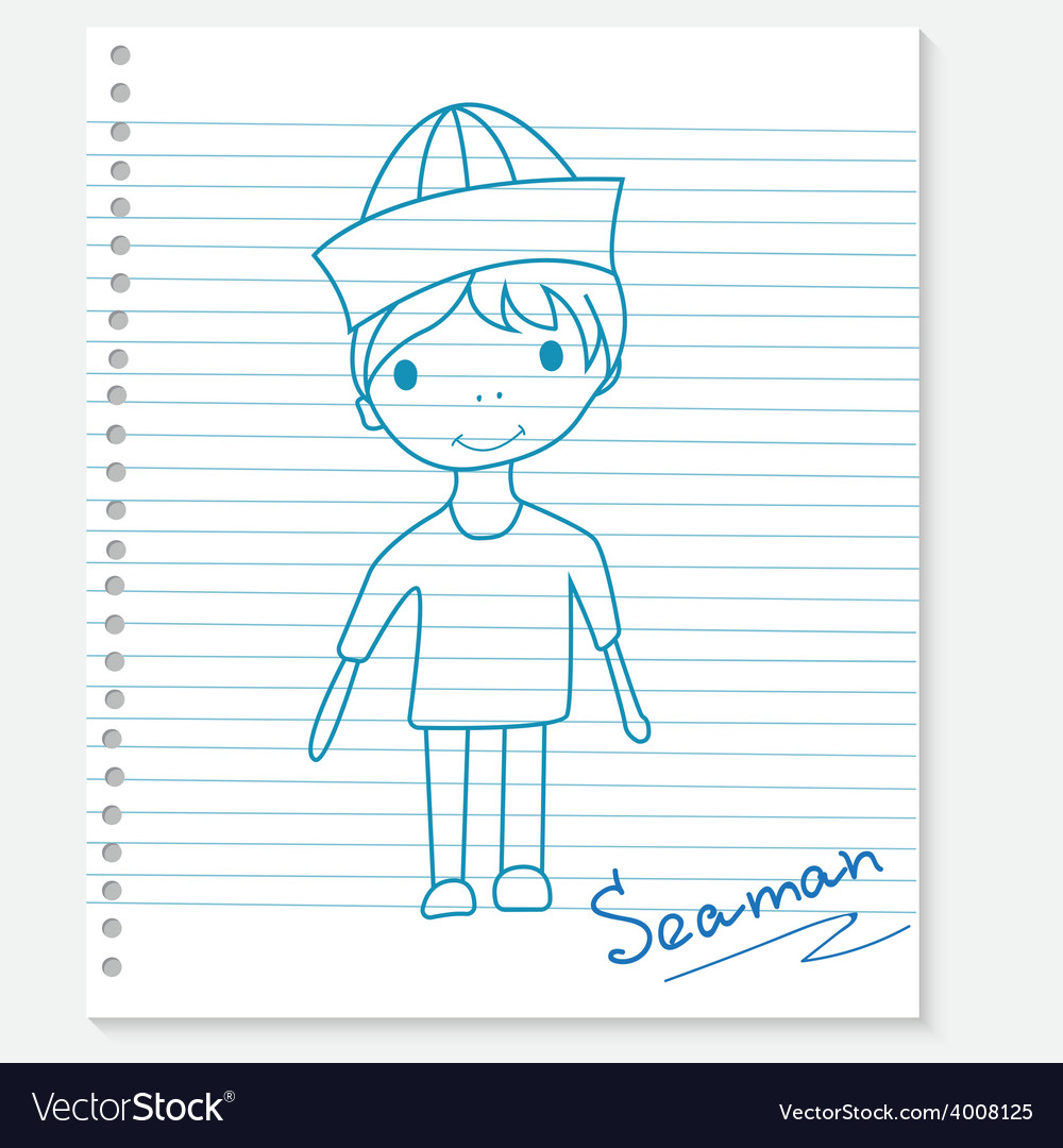Boy on a notebook sheet vector | Price: 1 Credit (USD $1)