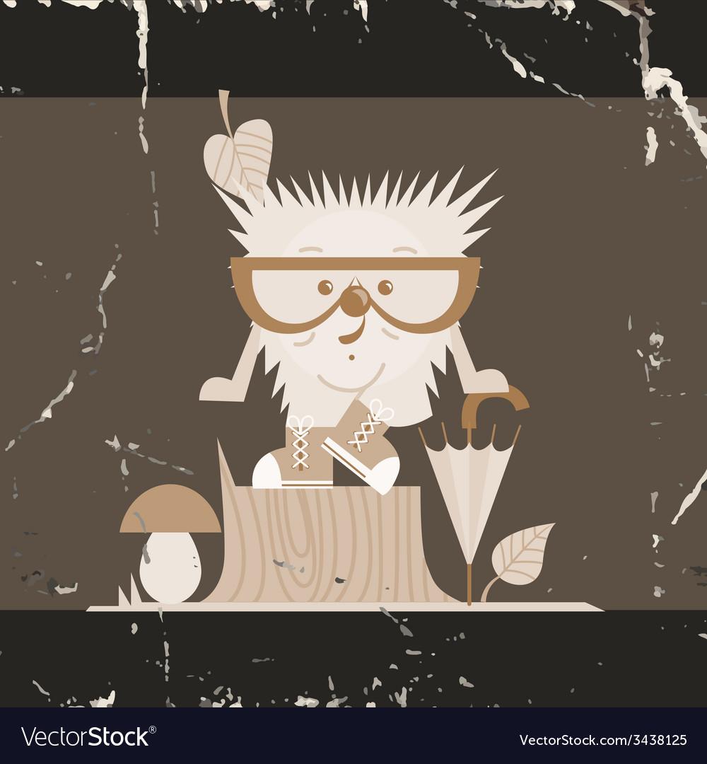 Cartoon hedgehog hipster style vector   Price: 1 Credit (USD $1)