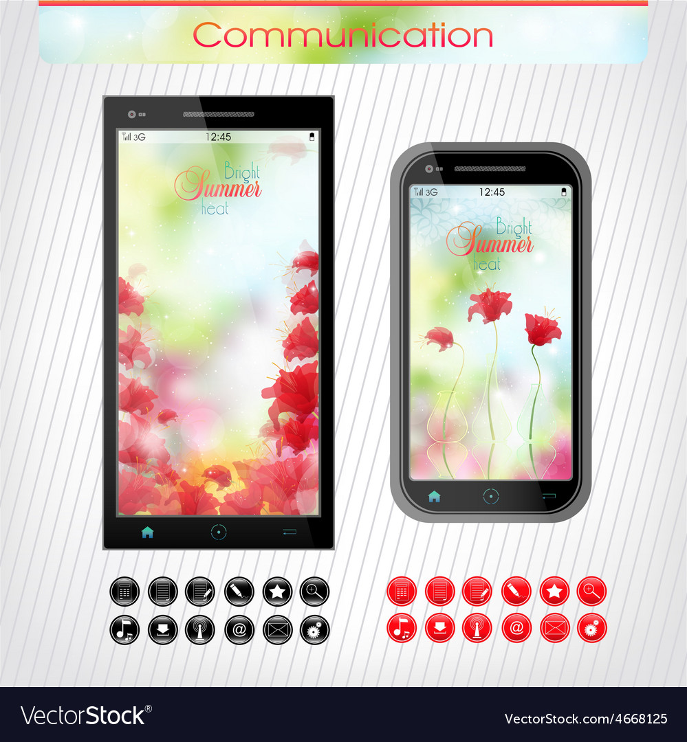 Cell phone with a bright floral headband the vector | Price: 1 Credit (USD $1)