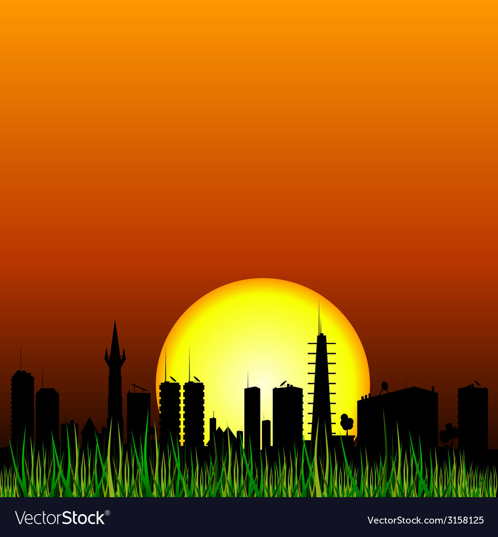 City and the sunset silhouette vector | Price: 1 Credit (USD $1)
