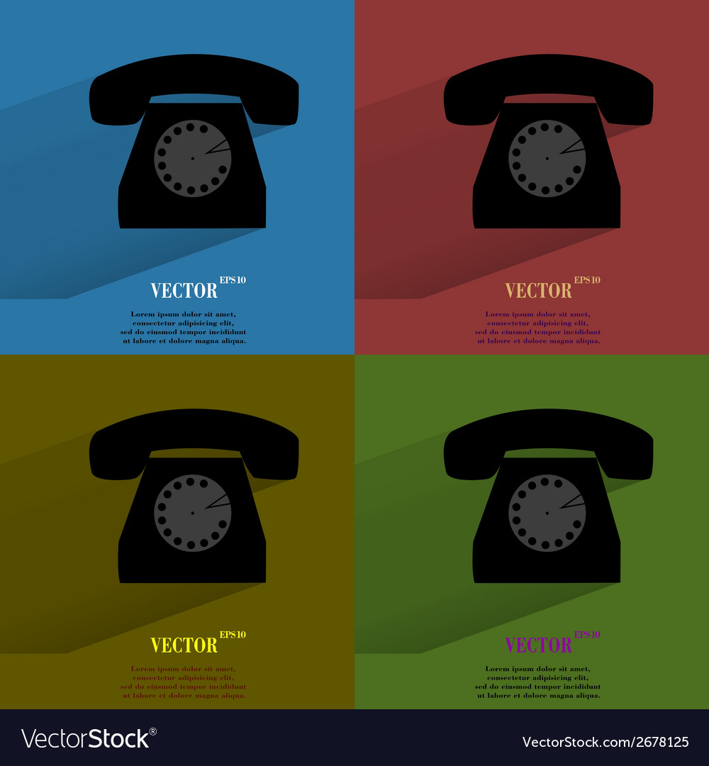 Color set retro telephone flat modern web button vector | Price: 1 Credit (USD $1)